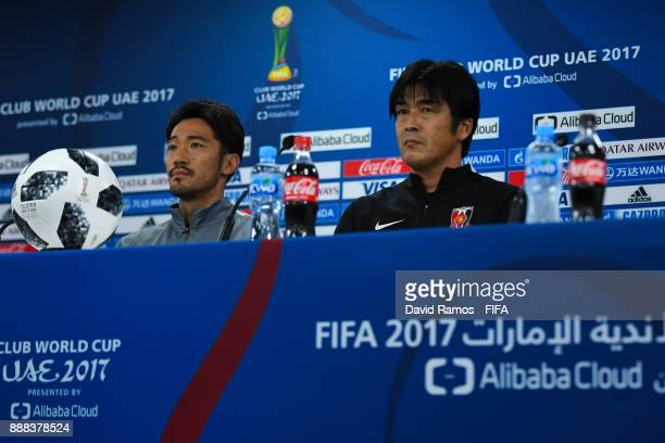 Head Coach Hori Takafumi and Yuki Abe of Urawa Red Diamonds faces the media during a press conference ahead of their FIFA Club World Cup UAE 2017...