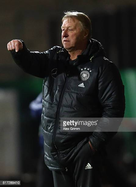 Head coach Horst Hrubesch of Germany reacts during the 2017 UEFA European U21 Championships qualifier match between Germany U21 and Faroe Islands U21...
