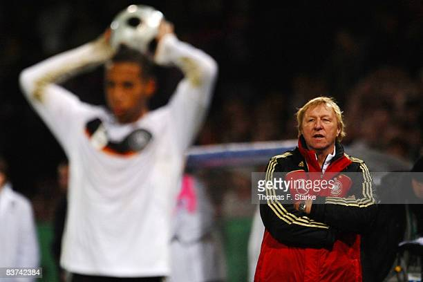 Head coach Horst Hrubesch of Germany watches his players during the men's U21 international friendly match between Germany and Italy at the osnatel...