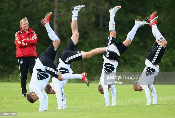 Head coach Horst Hrubesch of Germany watches his players during the U21 German National Team team training session on June 16 2009 in Lerum Sweden