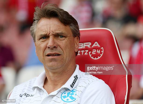 Head coach Horst Steffen of Stuttgart looks on prior to the third league match between FC Energie Cottbus and SV Stuttgarter Kickers at Stadion der...