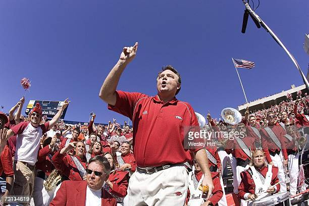 Head Coach Houston Nutt of the Arkansas Razorbacks celebrates after a victory against the Auburn Tigers at Jordan-Hare Stadium on October 7, 2006 in...