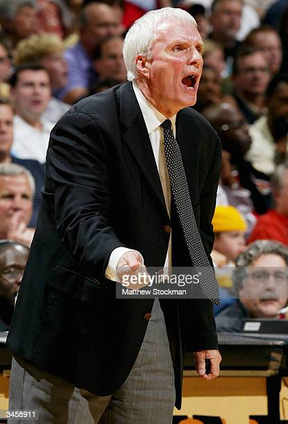 Head Coach Hubie Brown of the Memphis Grizzlies shouts instructions to his team against the San Antonio Spurs during Game three of the Western...