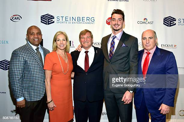 NFL head coach Hue Jackon coowner of the Cleveland Browns Dee Haslam sports agent Leigh Steinberg football player Paxton Lynch and entrepreneur Cosmo...