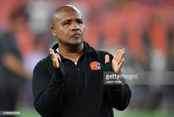 Head coach Hue Jackson of the Cleveland Browns looks on during warmups prior to the game against the New York Jets at FirstEnergy Stadium on...