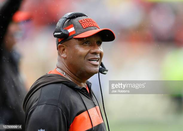 Head coach Hue Jackson of the Cleveland Browns looks on during the fourth quarter against the Pittsburgh Steelers at FirstEnergy Stadium on September...