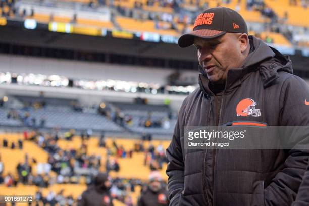 Head coach Hue Jackson of the Cleveland Browns walks off the field after a game on December 31 2017 against the Pittsburgh Steelers at Heinz Field in...