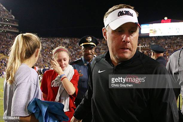Head coach Hugh Freeze of the Mississippi Rebels walks off the field after being defeated 10-7 by the LSU Tigers at Tiger Stadium on October 25, 2014...