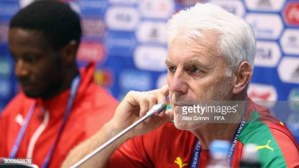 Head coach Hugo Broos and Arnaud Djoum attend a Cameroon press conference at Fisht Olympic Stadium ahead of their FIFA Confederations Cup Russia 2017...