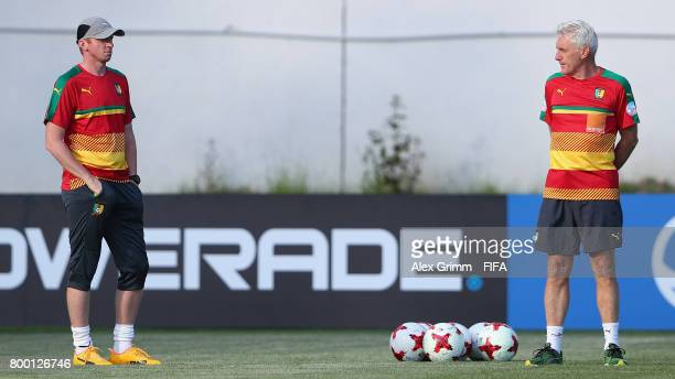 Head coach Hugo Broos and assistant coach Sven Vandenbroeck attend a Cameroon training session during the FIFA Confederations Cup Russia 2017 on June...