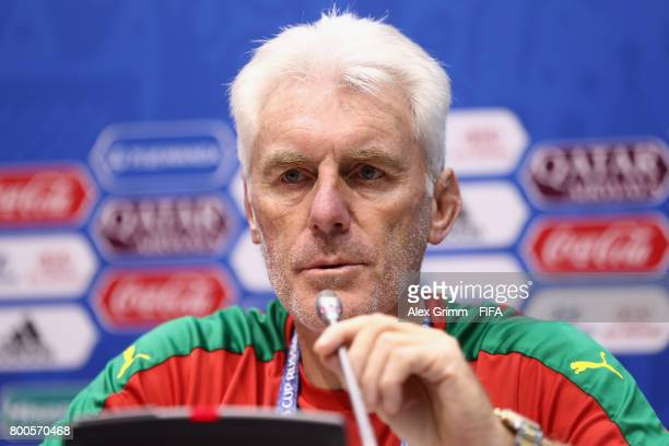 Head coach Hugo Broos attends a Cameroon press conference at Fisht Olympic Stadium ahead of their FIFA Confederations Cup Russia 2017 Group B match...