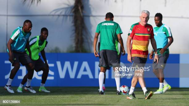 Head coach Hugo Broos attends a Cameroon training session during the FIFA Confederations Cup Russia 2017 on June 23 2017 in Sochi Russia