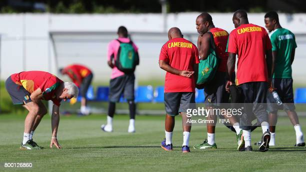 Head coach Hugo Broos checks the grass during a Cameroon training session during the FIFA Confederations Cup Russia 2017 on June 23 2017 in Sochi...