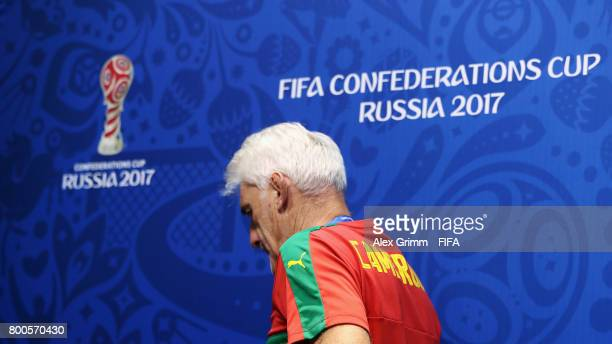 Head coach Hugo Broos leaves a Cameroon press conference at Fisht Olympic Stadium ahead of their FIFA Confederations Cup Russia 2017 Group B match...