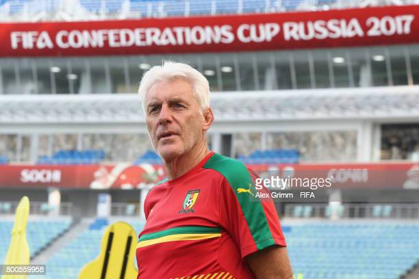 Head coach Hugo Broos looks during a Cameroon training session at Fisht Olympic Stadium ahead of their FIFA Confederations Cup Russia 2017 Group B...