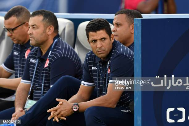 Head coach Hussein Amotta of Wydad Casablanca looks on prior to the FIFA Club World Cup match between CF Pachuca and Wydad Casablanca at Zayed Sports...
