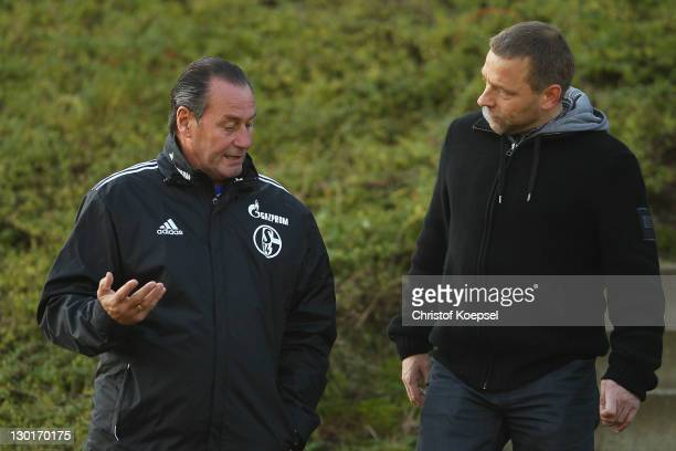 Head coach Huub Stevens and Thomas Haessler attend the FC Schalke training session at the training ground at Veltins Arena on October 24 2011 in...