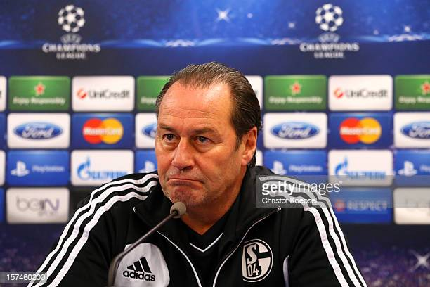 Head coach Huub Stevens attends the press conference of FC Schalke 04 at training ground of Montpellier ahead of the UEFA Champions League group B...