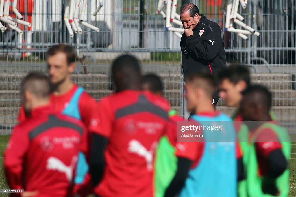 Head coach Huub Stevens looks on during a VfB Stuttgart training session at the club's training ground on March 11, 2014 in Stuttgart, Germany.
