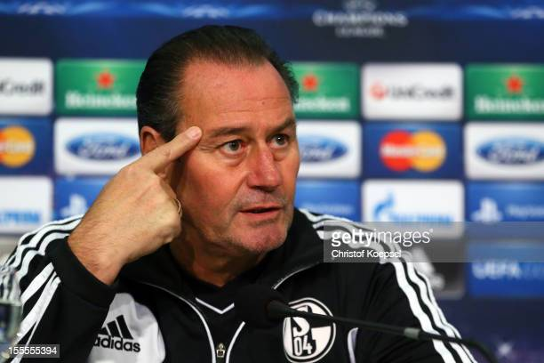 Head coach Huub Stevens of FC Schalke 04 attends the press conference at the Veltins Arena ahead of the UEFA Champions League group B match between...