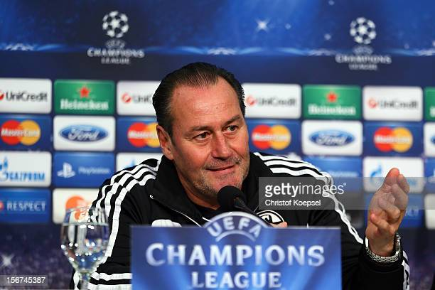 Head coach Huub Stevens of Schalke 04 attends the press conference at Veltins Arena ahead of the UEFA Champions League group B match between FC...