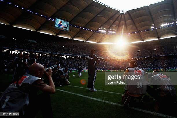 Head coach Huub Stevens of Schalke is seen prior to the Bundesliga match between Hamburger SV and FC Schalke 04 at Imtech Arena on October 2 2011 in...