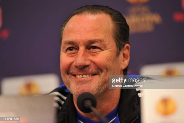 Head coach Huub Stevens of Schalke smiles during a press conference ahead of their UEFA Europa League round of 16 second leg match against FC Twente...
