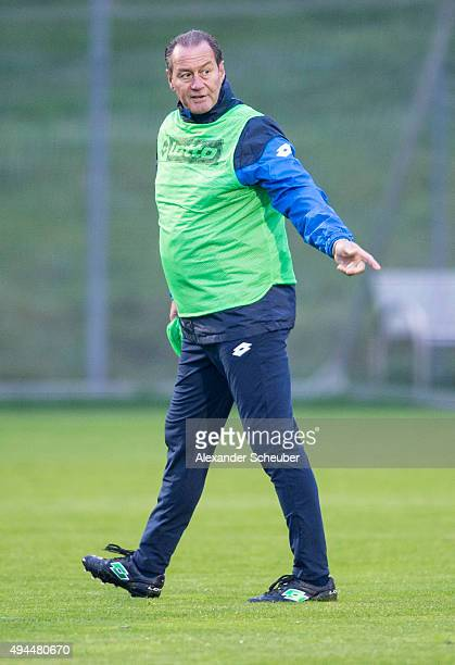Head coach Huub Stevens of TSG 1899 Hoffenheim attends a training session at the 1899 academy on October 27 2015 in Zuzenhausen Germany
