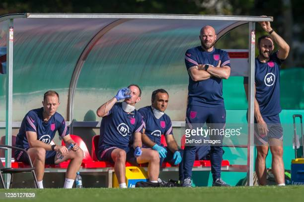 Head coach Ian Foster of England Looks on during the international friendly match between Germany U19 and England U19 at Salinenstadion on September...