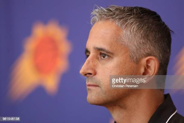 Head coach Igor Kokoskov of the Pheonix Suns speaks during a press conference at Talking Stick Resort Arena on June 22, 2018 in Phoenix, Arizona....