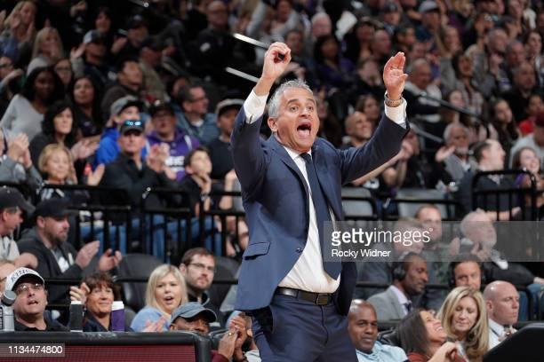 Head coach Igor Kokoskov of the Phoenix Suns coaches against the Sacramento Kings on March 23, 2019 at Golden 1 Center in Sacramento, California....