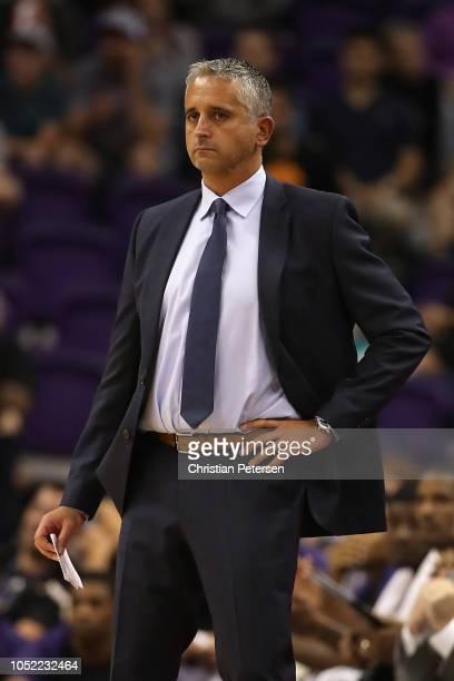 Head coach Igor Kokoskov of the Phoenix Suns during the NBA preseason game against the Portland Trail Blazers at Talking Stick Resort Arena on...