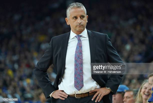 Head coach Igor Kokoskov of the Phoenix Suns looks on against the Golden State Warriors during an NBA basketball game at ORACLE Arena on October 8...