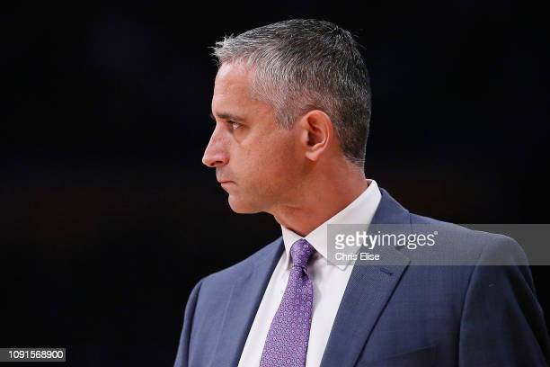Head Coach Igor Kokoskov of the Phoenix Suns looks on during a game against the Los Angeles Lakers on January 27 2019 at STAPLES Center in Los...