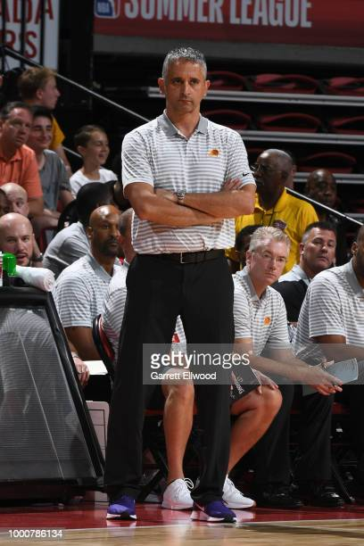 Head Coach Igor Kokoskov of the Phoenix Suns looks on during the game against the Sacramento Kings during the 2018 Las Vegas Summer League on July 7...