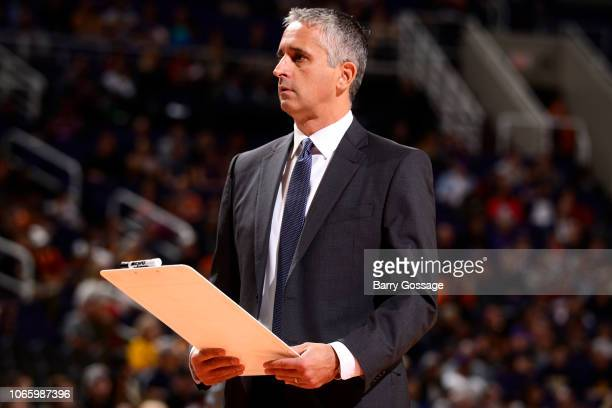 Head Coach Igor Kokoskov of the Phoenix Suns looks on during the game against the Indiana Pacers on November 27 2018 at Talking Stick Resort Arena in...