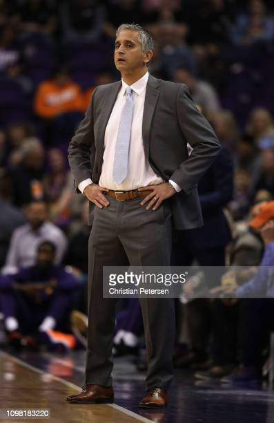 Head coach Igor Kokoskov of the Phoenix Suns looks on during the first half of the NBA game against the Minnesota Timberwolves at Talking Stick...