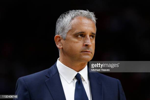 Head coach Igor Kokoskov of the Phoenix Suns reacts against the Miami Heat during the second half at American Airlines Arena on February 25, 2019 in...