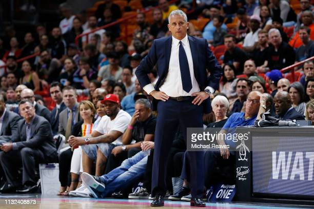 Head coach Igor Kokoskov of the Phoenix Suns reacts against the Miami Heat during the second half at American Airlines Arena on February 25 2019 in...