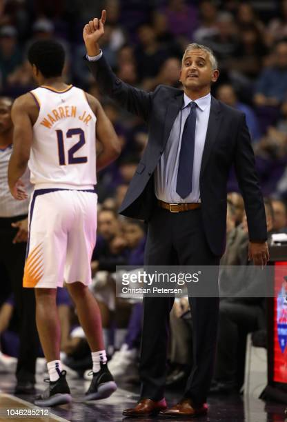 Head coach Igor Kokoskov of the Phoenix Suns reacts during the first half of the NBA preseason game against the Portland Trail Blazers at Talking...
