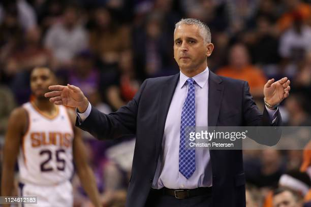 Head coach Igor Kokoskov of the Phoenix Suns reacts during the first half of the NBA game against the Portland Trail Blazers at Talking Stick Resort...