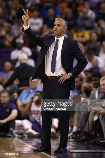 Head coach Igor Kokoskov of the Phoenix Suns reacts during the first half of the NBA game against the Utah Jazz at Talking Stick Resort Arena on...