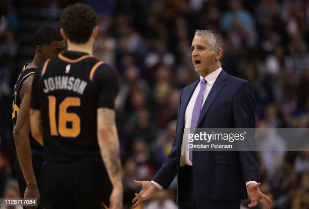 Head coach Igor Kokoskov of the Phoenix Suns reacts during the second half of the NBA game against the Golden State Warriors at Talking Stick Resort...