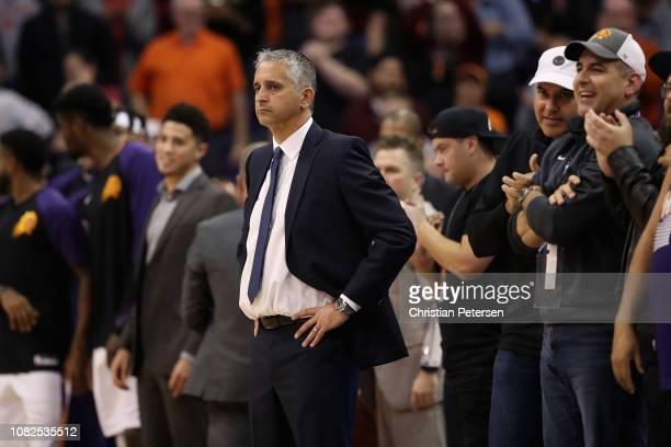 Head coach Igor Kokoskov of the Phoenix Suns reacts following the NBA game against the Dallas Mavericks at Talking Stick Resort Arena on December 13,...