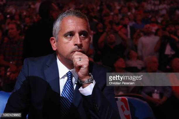 Head coach Igor Kokoskov of the Phoenix Suns sits on the bench before the NBA game against the Dallas Mavericks at Talking Stick Resort Arena on...