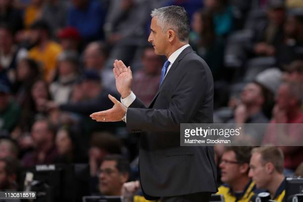 Head coach Igor Kokoskov of the Phoenix Suns watches as his team plays the Denver Nuggets at the Pepsi Center on January 25, 2019 in Denver,...