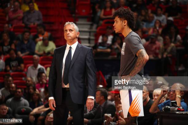 Head Coach Igor Kokoskov stands with Kelly Oubre Jr #3 of the Phoenix Suns during the game against the Miami Heat on February 25 2019 at American...