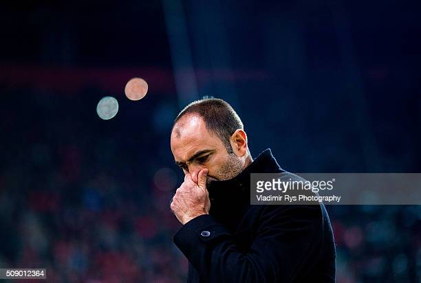 PAOK head coach Igor Tudor is pictured during the Superleague Greece match between Olympiacos Piraeus and PAOK at Karaiskaki stadium on February 7...
