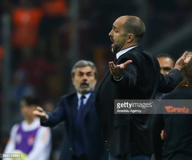 Head coach Igor Tudor of Galatasaray and head coach Aykut Kocaman of Fenerbahce gesture during a Turkish Super Lig match between Galatasaray and...