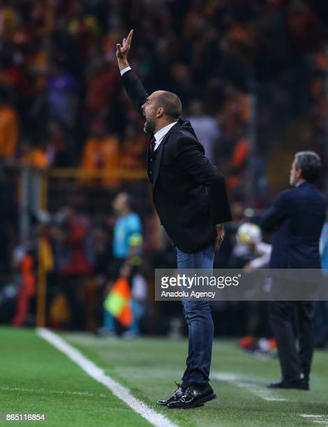 Head coach Igor Tudor of Galatasaray gives tactics to his team during a Turkish Super Lig match between Galatasaray and Fenerbahce at Ali Sami Yen...